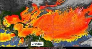 Lower to middle level dry air and suspended aerosols